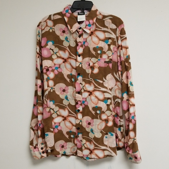 Down Floral Top amp; Dolce Gabbana Printed Button Tops AFqpqgYwx